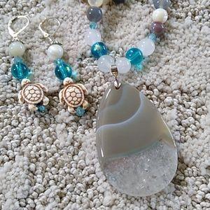 Handmade Gemstone Necklace Set Gray and Crystal